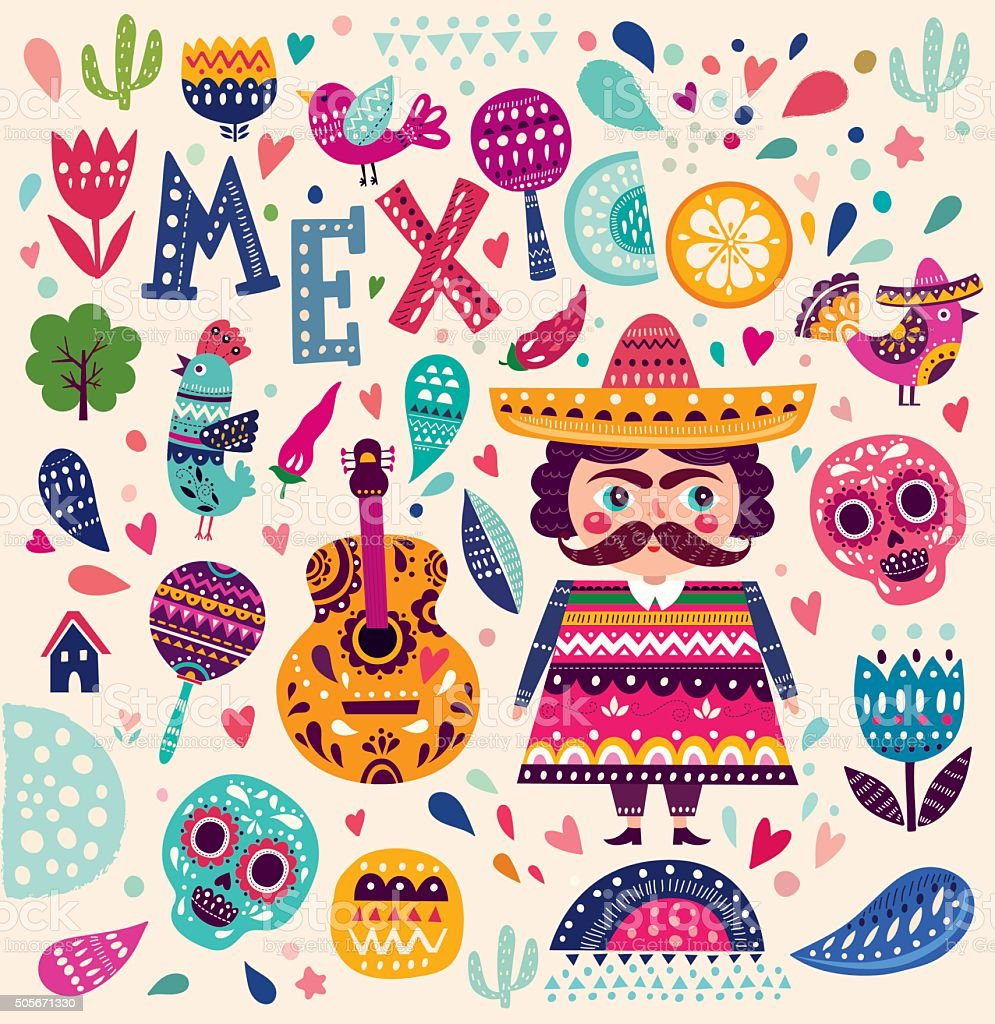 Symbols of Mexico vector art illustration