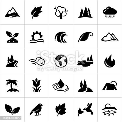 A set of common nature symbols. The icons include trees, mountains, leaves, weather, clouds, snow, plants, growth, ocean, sun, waves, river, wind, planet earth, lakes, fire, palm tree, flower, water, rain drop, birds, desert and humming bird to name a few.