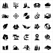 A set of common nature symbols. The icons include trees, mountains, leaves, rain, snow flake, plants, lakes, waterfall, butterfly, planet earth, palm trees, growth, flower, sprout, cliffs, canyons, sun, cactus and coast line to name a few.