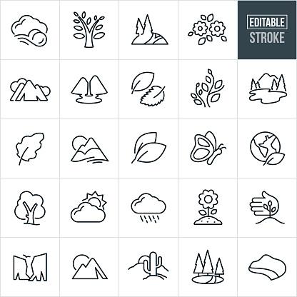 Symbols of Nature Thin Line Icons - Editable Stroke