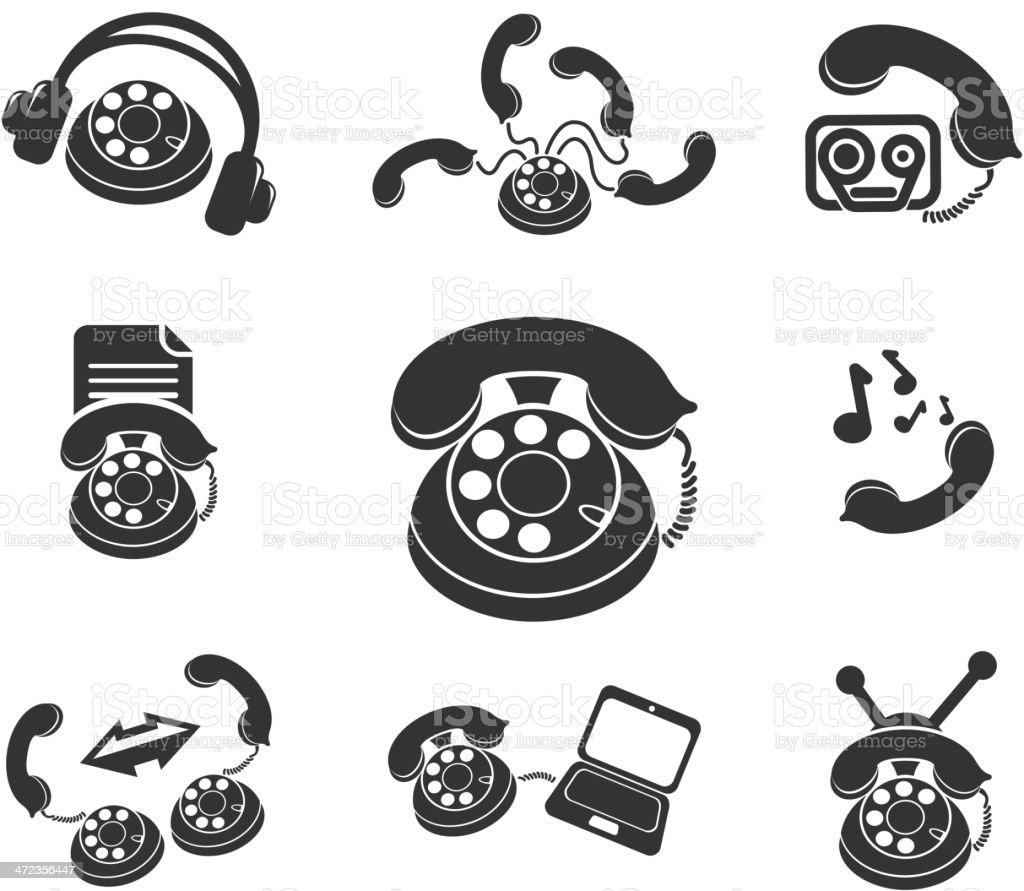 Symbols Of Phone Stock Vector Art More Images Of Black Color