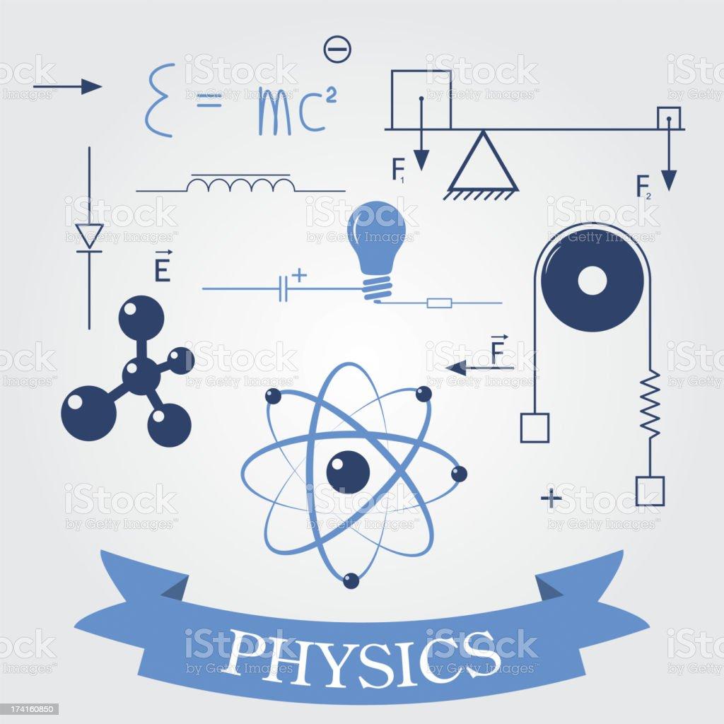 Símbolos de física - ilustração de arte em vetor