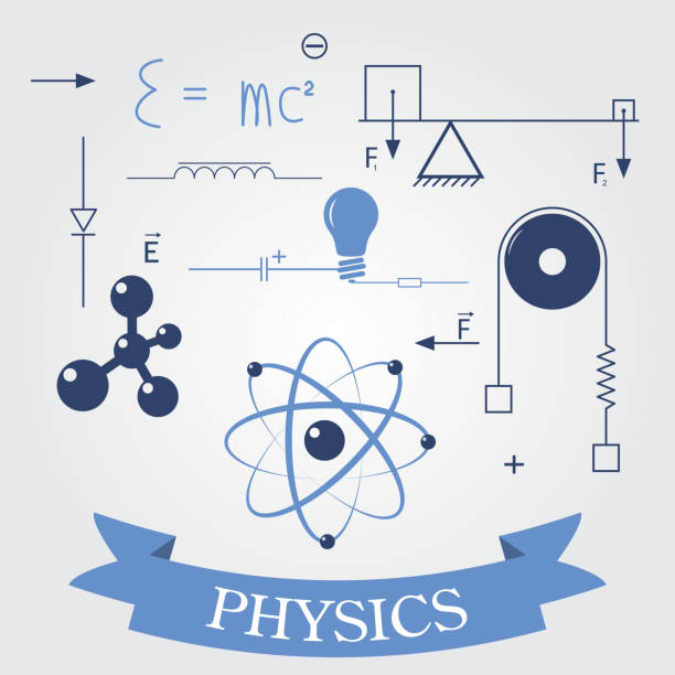 symbols of physics vector art illustration