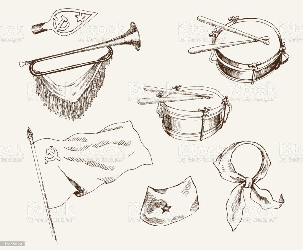 symbols of pioneers royalty-free stock vector art