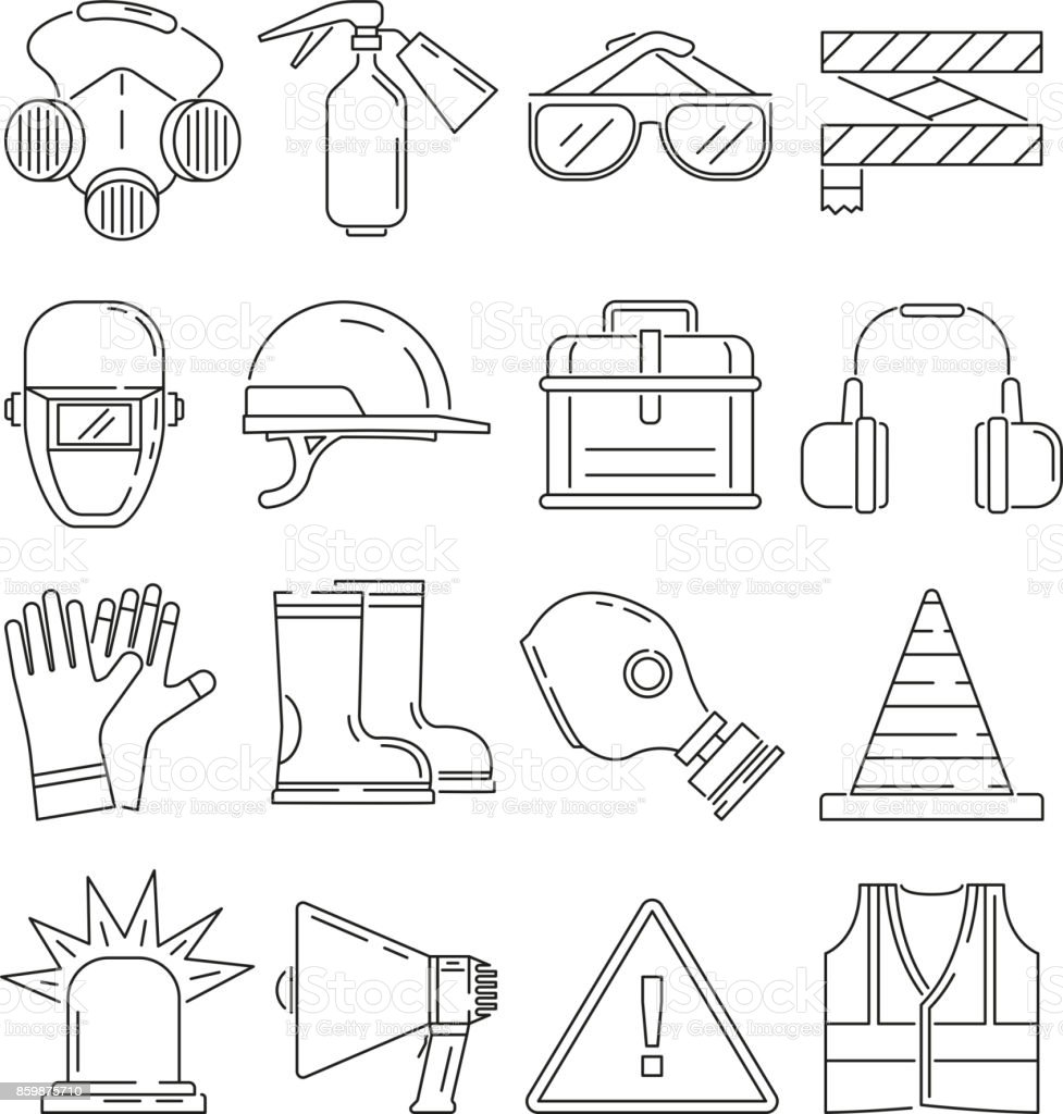 Symbols Of Safety Work Protection For Health Occupations Vector
