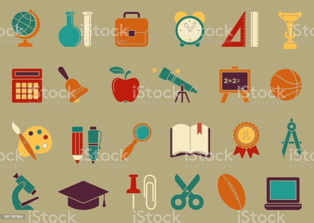 Symbols Of School And Education Stock Vector Art More Images Of