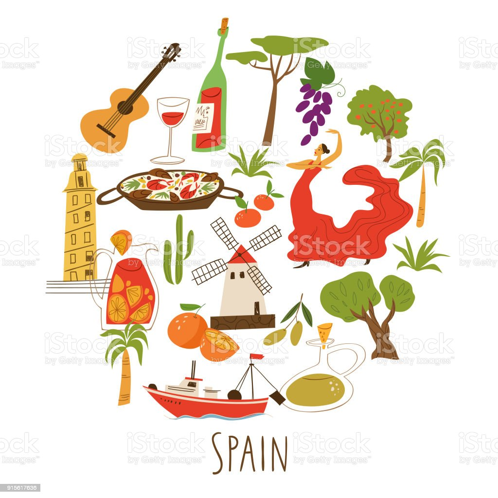 Symbols of spain in round culture music dance food and architecture symbols of spain in round culture music dance food and architecture buycottarizona Images