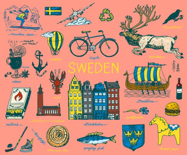 bildbanksillustrationer, clip art samt tecknat material och ikoner med symboler för sverige i vintagestil. retro skiss med traditionella skyltar. skandinavisk kultur, nationell underhållning i det europeiska landet. ekologi och bearbetning, cykel och djur, vinter och kyla - älg sverige