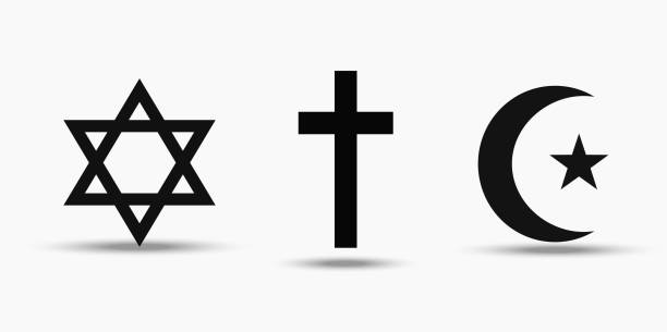 Symbols of the three world religions - Judaism, Christianity and Islam Symbols of the three world religions - Judaism, Christianity and Islam. Isolated on white background. religion stock illustrations