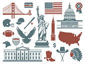 Traditional symbols of architecture and culture of the USA
