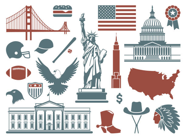 Symbols of the USA Traditional symbols of architecture and culture of the USA white house stock illustrations