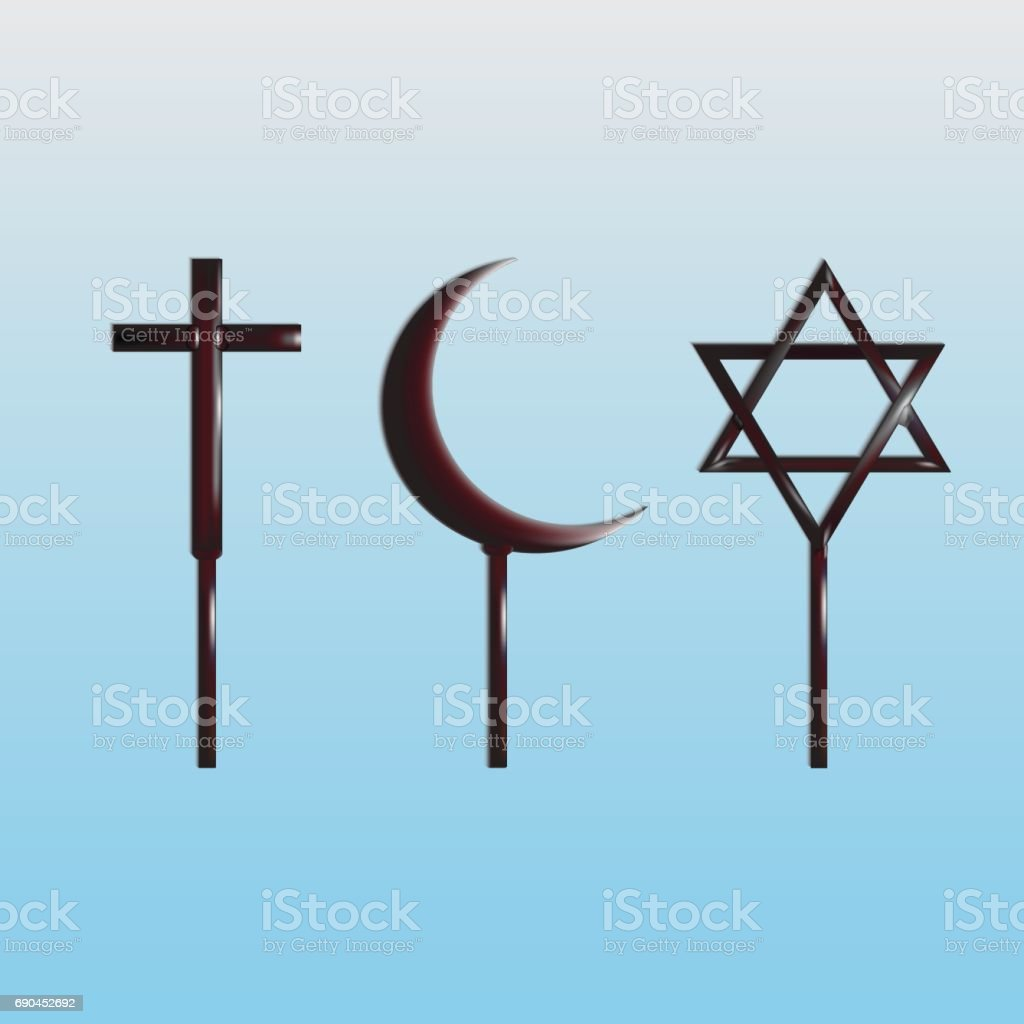 Symbols Of The World Religions Christianity Islam And Judaism Stock