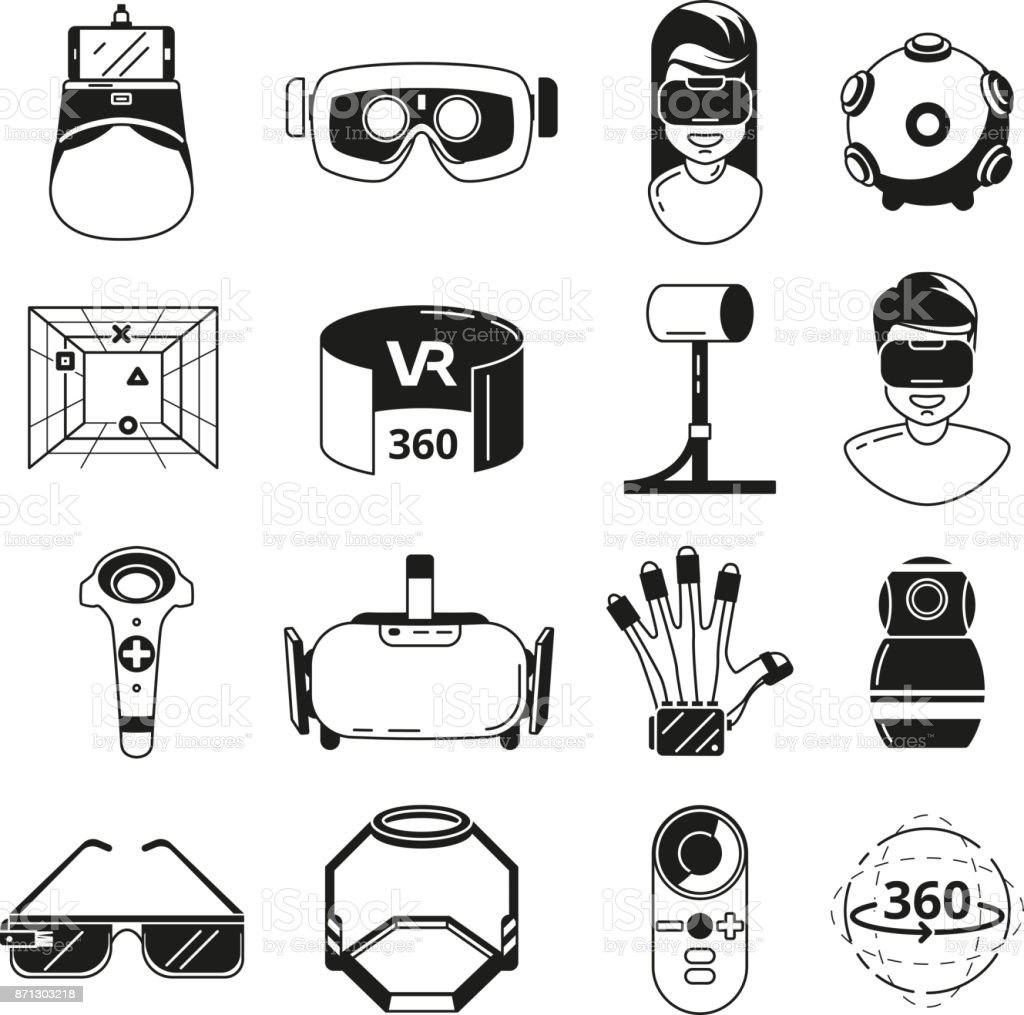 381ec7705e8f Symbols of virtual reality. Game panoramic in 3d rotation. Vr glasses and  other tools. Vector monochrome illustrations - Illustration .