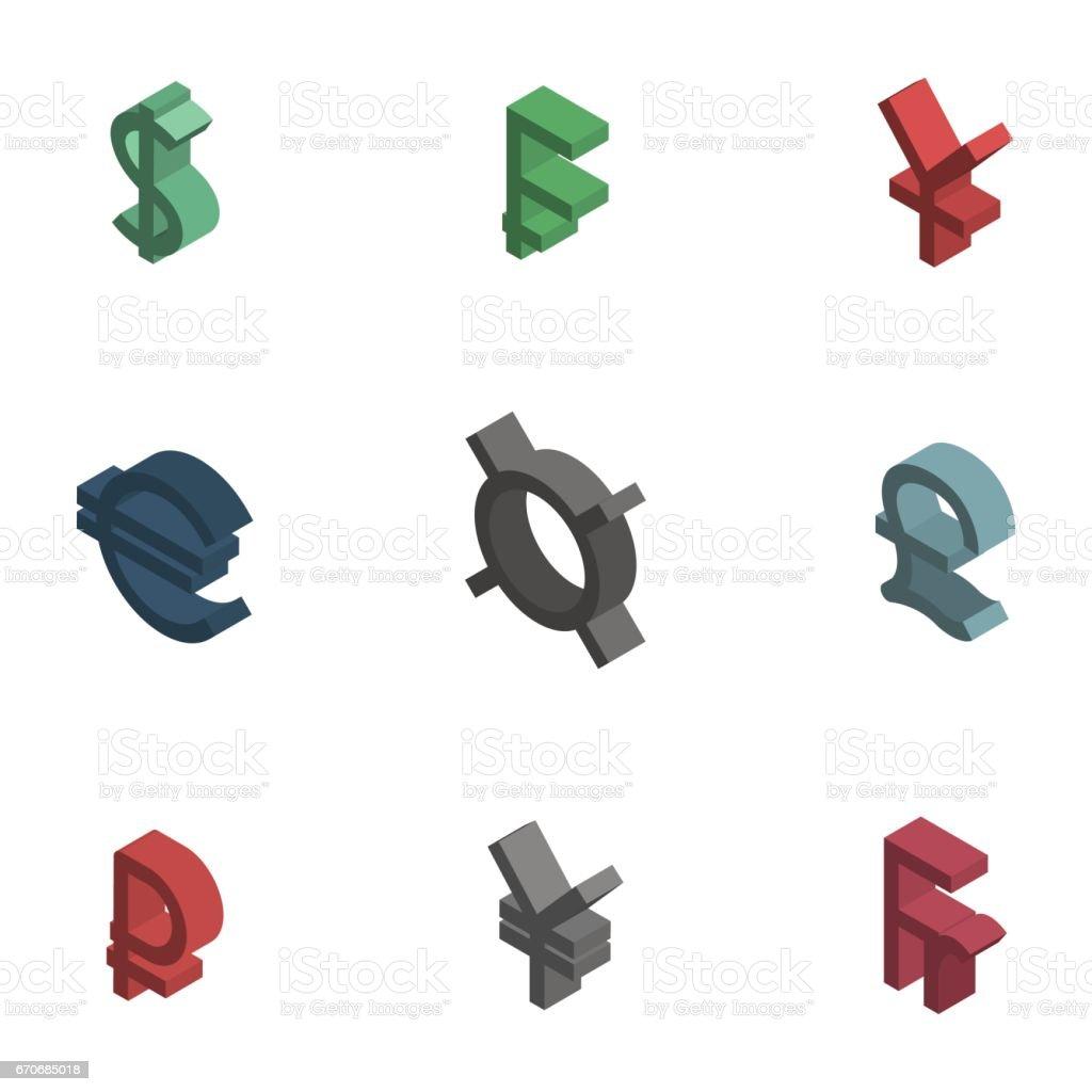Symbols Of World Currencies Isometric Vector Illustration Stock