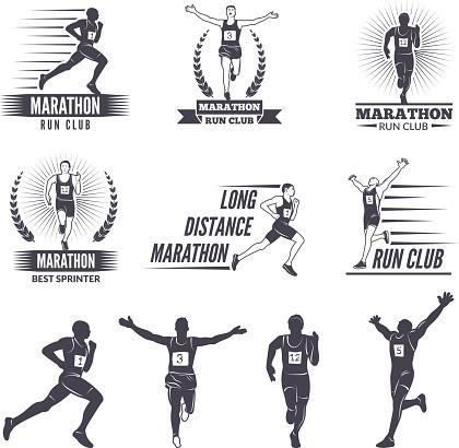 symbols or labels for runners. Marathon graphics