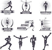 symbols or labels for runners. Marathon graphics label, run athlete competition, vector illustration