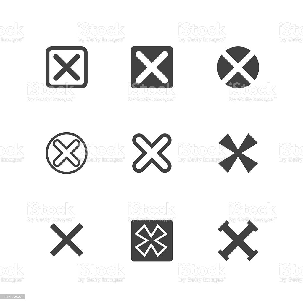 X Symbols, Rejected Mark Icons vector art illustration