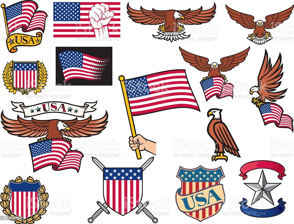 USA symbols (flying eagle holding flag, coat of arms)