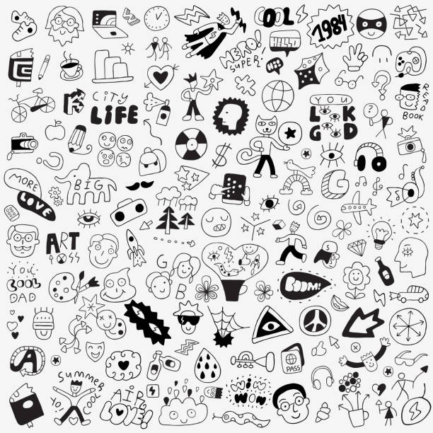 symbols,lettering,characters - big doodle set Doodle,Group Of Objects,Summer,City,Symbol car love stock illustrations