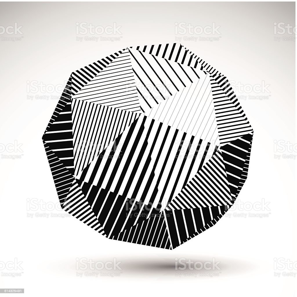 Symmetric spherical vector technology object with parallel lines vector art illustration