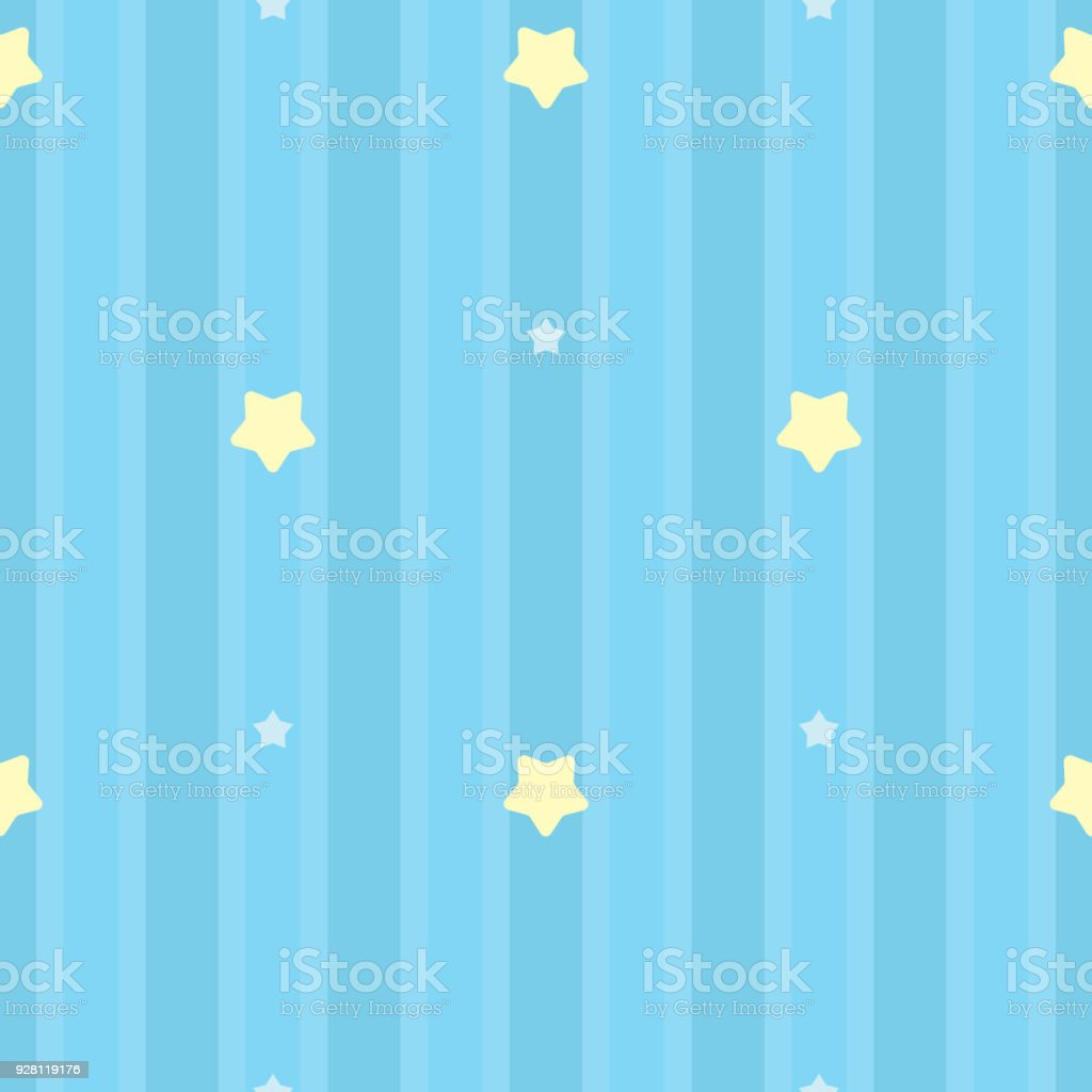 Symmetrical And Seamless Striped Blue Pattern With Yellow And White