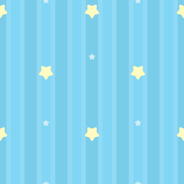 Symmetrical and seamless striped blue pattern with yellow and white stars. Gift wrap background, children's bedroom, baby nursery wallpaper, scrapbook wrapping paper. Vector Illustration. Symmetrical and seamless striped blue pattern with yellow and white stars. Gift wrap background, children's bedroom, baby nursery wallpaper, scrapbook wrapping paper. Vector Illustration. bedroom backgrounds stock illustrations