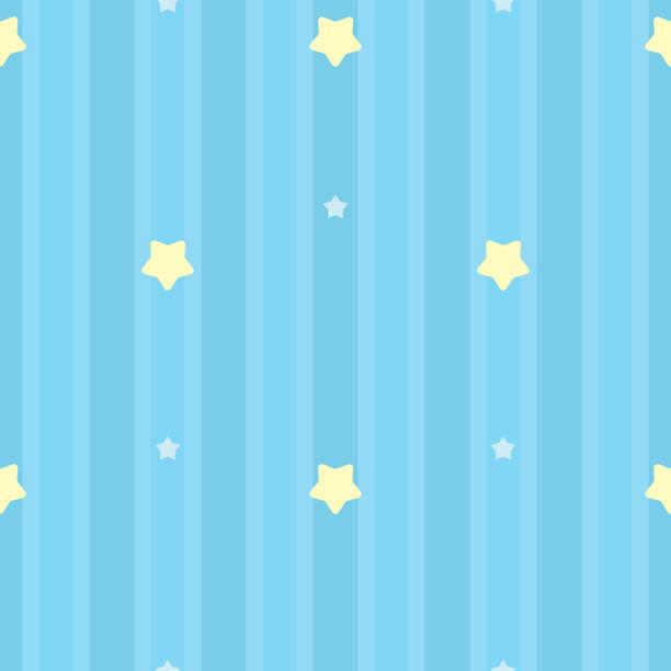 symmetrisch und nahtlose blaue streifenmuster mit gelben und weißen sternen. geschenk-verpackung-hintergrund, kinderzimmer, baby kinderzimmer tapete, sammelalbum geschenkpapier. vektor-illustration. - tapete stock-grafiken, -clipart, -cartoons und -symbole