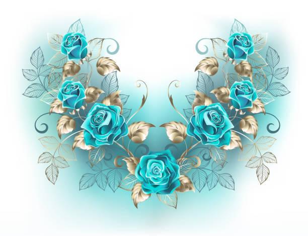 symmetrische komposition mit türkisfarbenen rosen - hochzeitsanstecker stock-grafiken, -clipart, -cartoons und -symbole