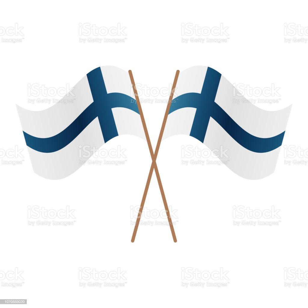 Symmetrische gekreuzt Finnland Fahnen – Vektorgrafik