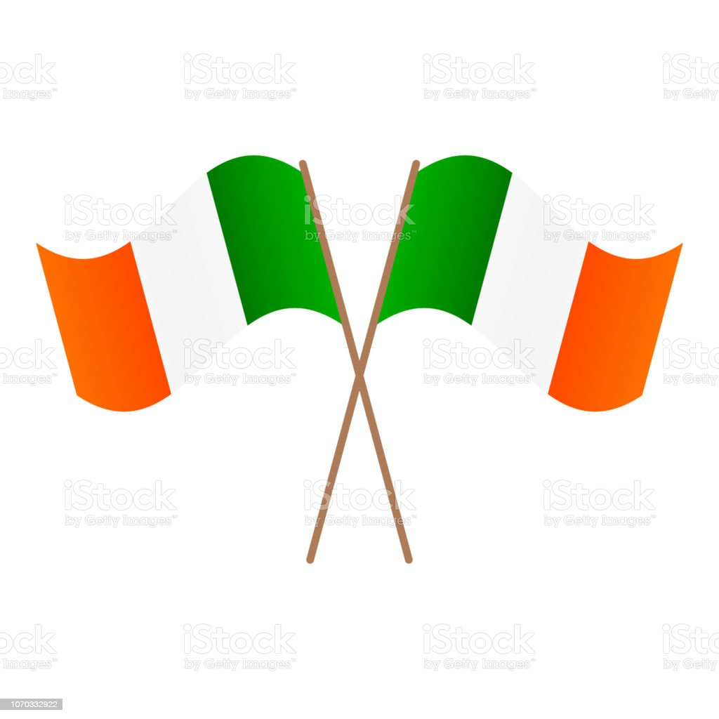 Symmetrical Crossed Ireland flags