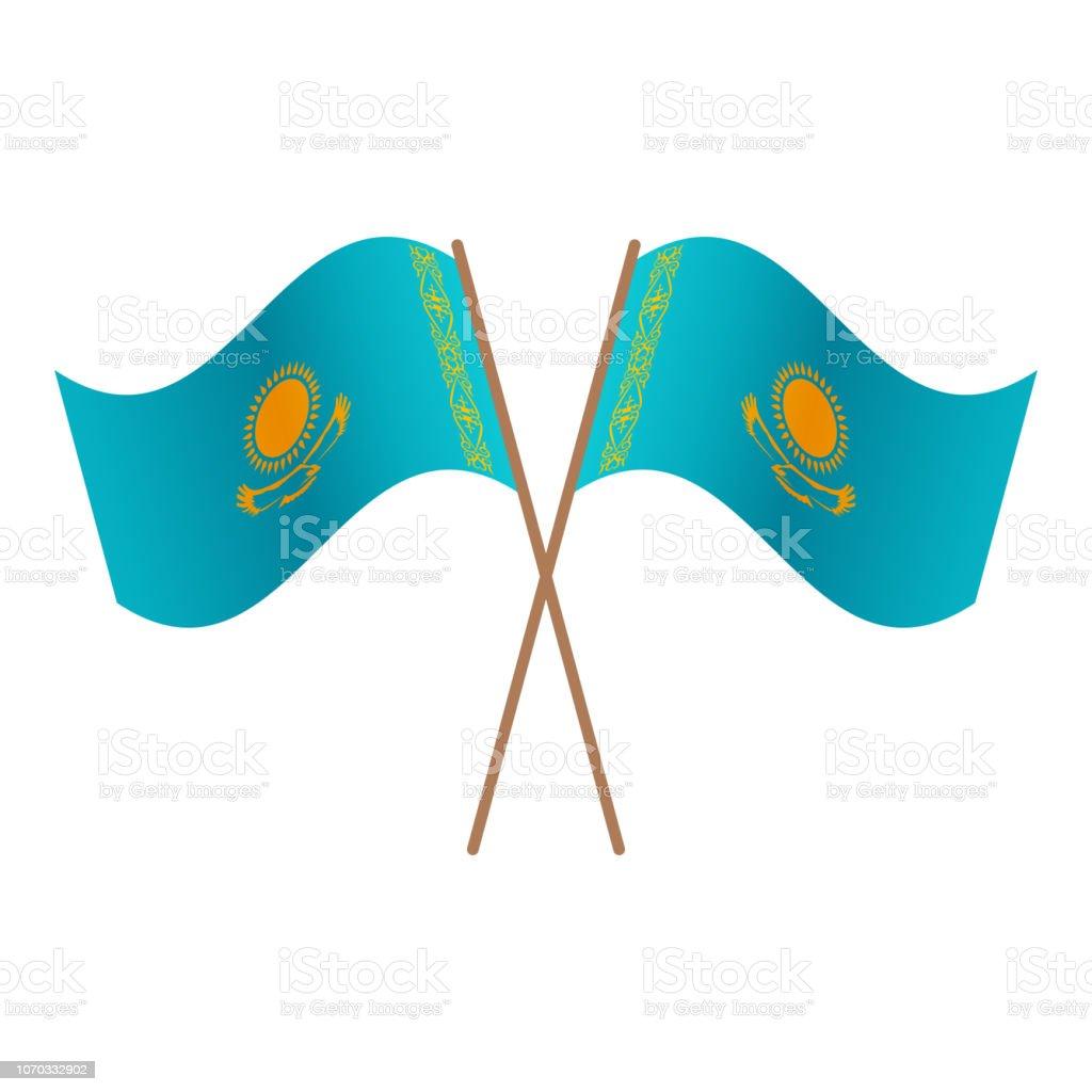 Symmetrical Crossed Kazakhstan flags vector art illustration