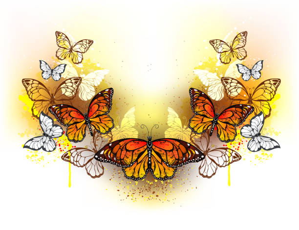 Symmetrical pattern of butterflies monarchs Symmetrical pattern of butterflies monarchs and bright spots of orange watercolor on a white background. Monarch butterfly. Design with butterflies. Bright watercolor paint. swarm of insects stock illustrations