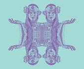 Symmetrical, reflected engraving of a Spiritual woman prayer and meditation