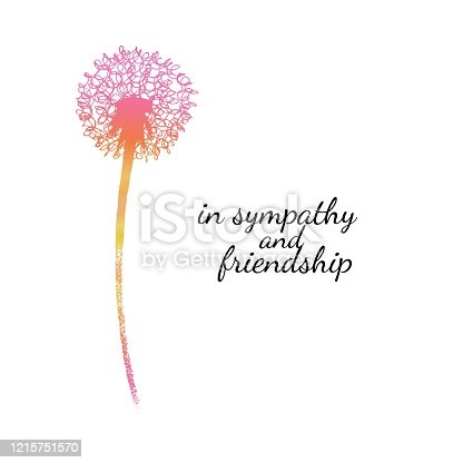 istock Sympathy card with a single flower. Dandelion silhouette drawing with gradient fill. Minimal poster. Botanical illustration. 1215751570