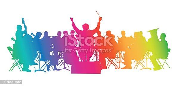 Multi-Coloured silhouette orchestra