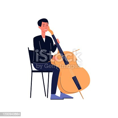 Symphonic orchestra music player in concert suit with double bass or cello, flat vector illustration isolated on white background. Professional musician cartoon character.