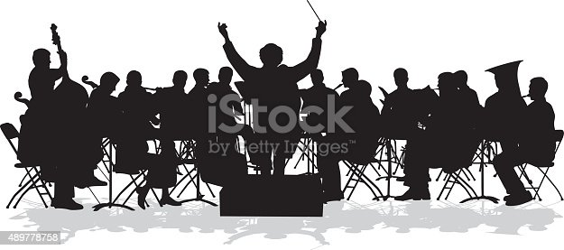 A vector silhouette illustration of an orchestra in concert.