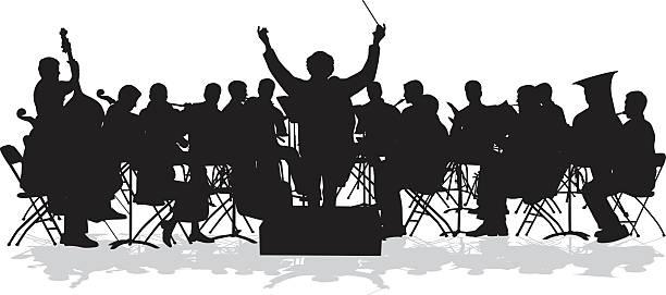 sinfonieorchester silhouette - bandleader stock-grafiken, -clipart, -cartoons und -symbole