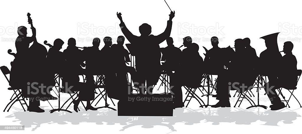 Sinfonieorchester Silhouette – Vektorgrafik