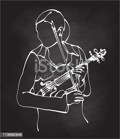 illustration of a female violonist holding her instrument and getting ready to play