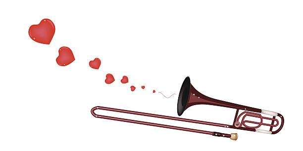 stockillustraties, clipart, cartoons en iconen met symphonic trombone blowing a lovely heart - tenor