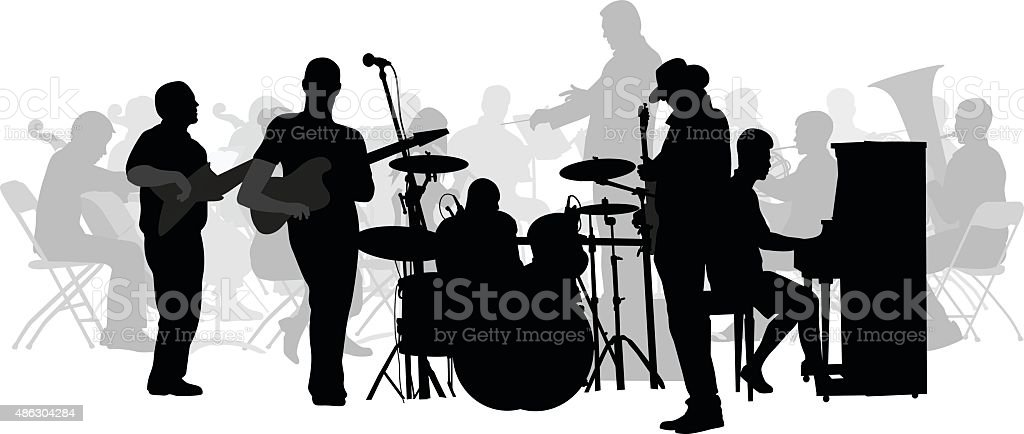 Symphony And Rock Collide Silhouette vector art illustration