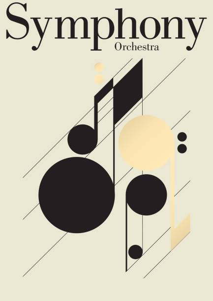 illustrazioni stock, clip art, cartoni animati e icone di tendenza di symphony music festival template - orchestra