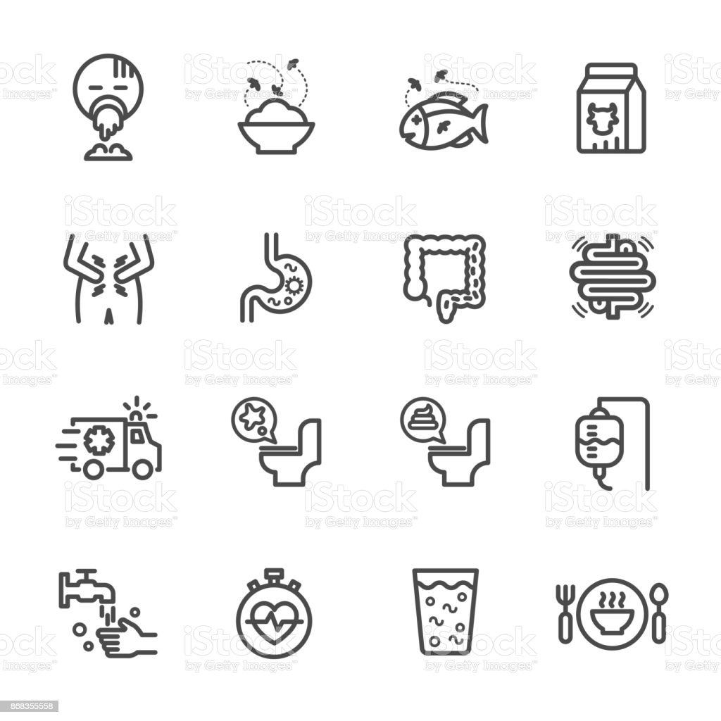 Symptoms and Causes of Diarrhea, Health and medical concept. Vector line icon vector art illustration