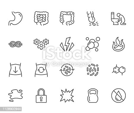 Symptoms of abdominal disease flat line icons set. Stomach pain, appendicitis, heartburn, spasm, diarrhea vector illustrations. Thin signs digestion for digestion. Pixel perfect 64x64. Editable Stroke