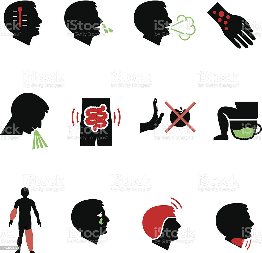 Symptoms of allergy and other diseases as flat icons vector art illustration