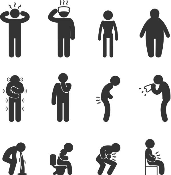 Symptoms of people disease icons. Sick and ill vector art illustration