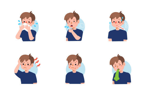 symptoms Kid with different diseases symptoms - fever, cough, snot, allergy. Set of  icons about child illness signs. Flat cartoon vector illustration isolated on white background. fever stock illustrations