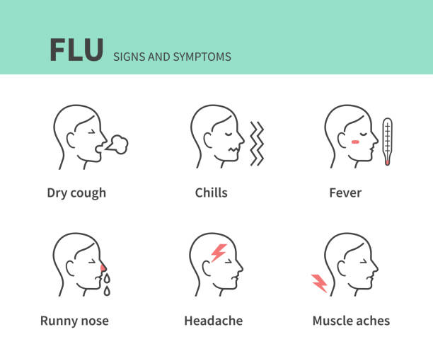 symptoms Flu disease symptoms infographic collection. Line style vector illustration isolated on white background. fever stock illustrations