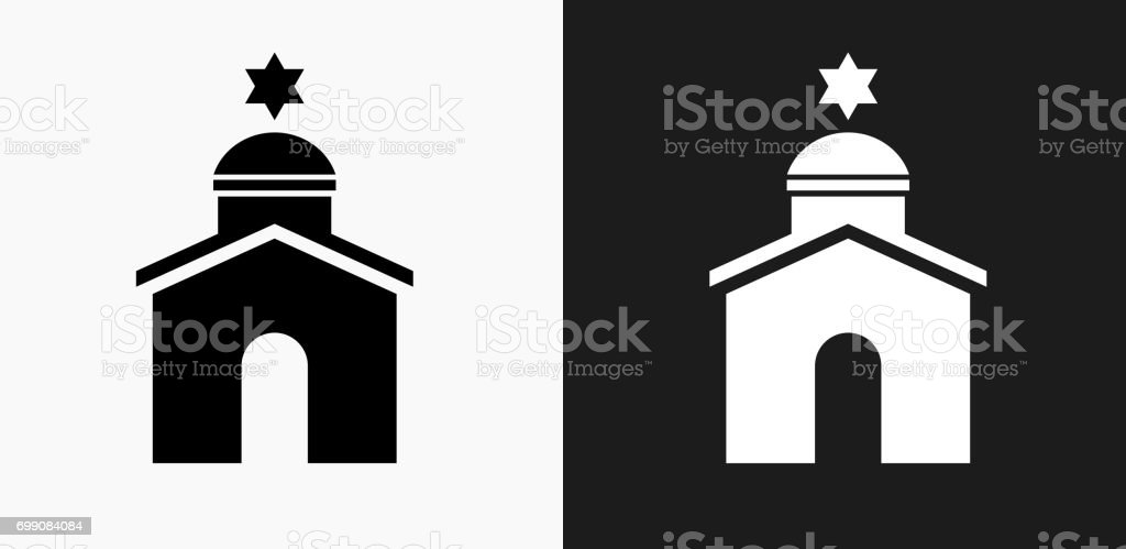 Synagogue Icon on Black and White Vector Backgrounds vector art illustration